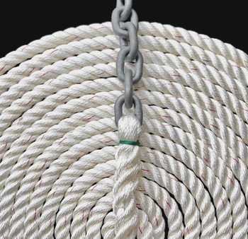 "Windlass Anchor Rode 15' - 1/4"" Gal G4 Chain 1/2"" 3-Stand Nylon Rope"