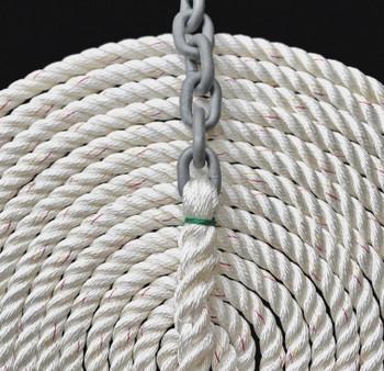 "Windlass Anchor Rode 15' - 5/16"" Gal G4 Chain 5/8"" 3-Strand Rope"