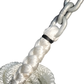 "Windlass Anchor Rode 15' - 5/16"" Gal G4 Chain 5/8"" 8-Plait Nylon Rope"