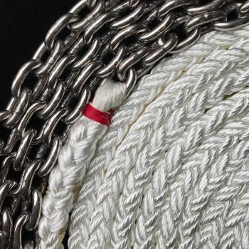 "Windlass Anchor Rode 25' - 5/16"" SS Chain 5/8"" 8-Plait Nylon Rope"