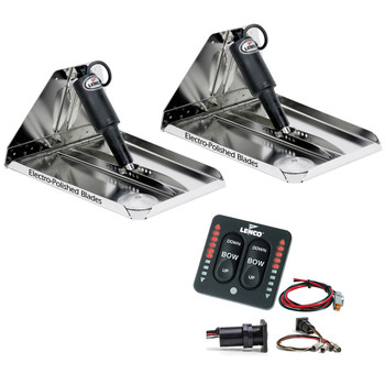 "Lenco 12"" x 12"" Heavy Duty Performance Trim Tab Kit w/LED Indicator Switch Kit 12V"