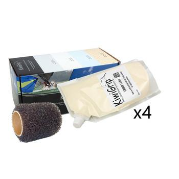 """KiwiGrip 4 - 1 Liter Pouches - Cream w/4"""" Roller"""