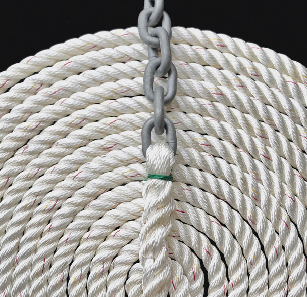 "Windlass Anchor Rode 25' - 1/4"" Gal G4 Chain 1/2"" 3-Strand Nylon Rope"