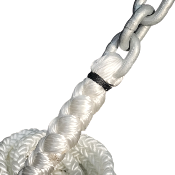 "25' of 1/4"" Galvanized Chain with 1/2"" 8-Plait Nylon Rope"