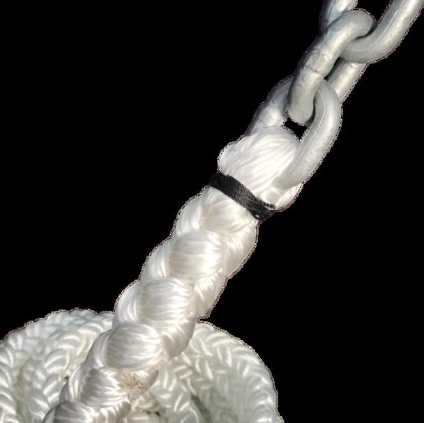 "15' of 5/16"" Galvanized Chain with 5/8"" 8-Plait Nylon Rope"