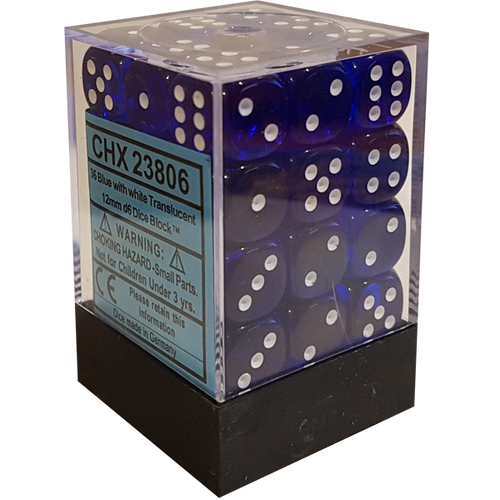 Blue W/White Translucent 12mm D6 With Pips Dice Block (36 Dice)