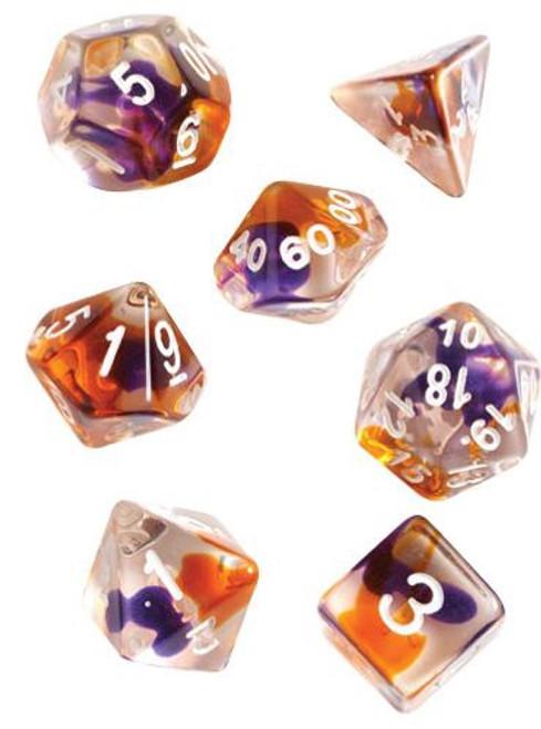 Purple, Orange, Clear Polyhedral Dice Set - Sirius Dice