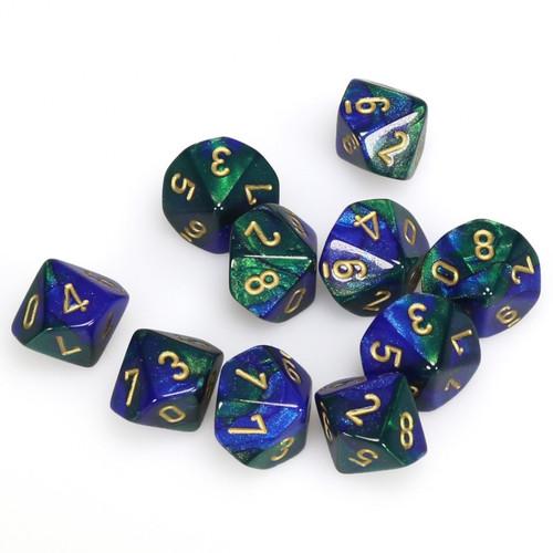 Blue-Green W/Gold Gemini Polyhedral Ten D10 Set