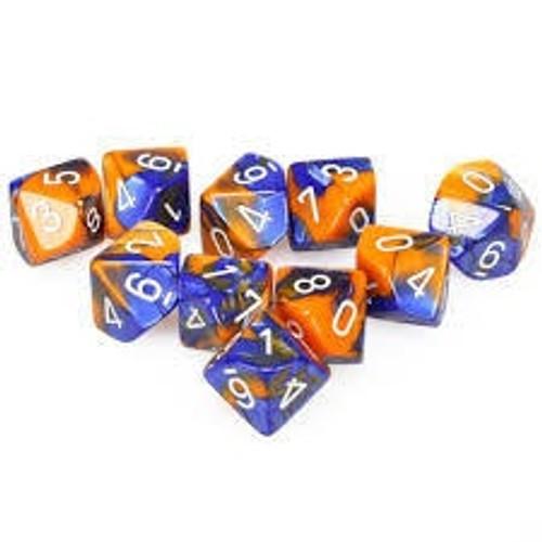 Blue-Orange W/White Gemini Polyhedral Ten D10 Set