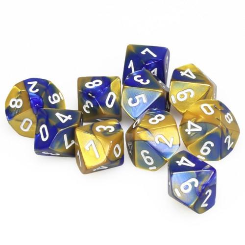 Blue-Gold W/White Gemini Polyhedral Ten D10 Set