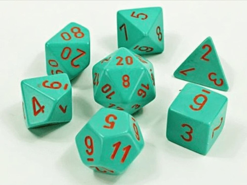 Poly 7 Set: Heavy Dice Turquoise/Orange Lab Dice