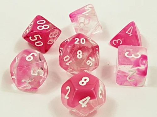 Poly 7 Set: Gemini Clear-Pink Luminary Lab Dice