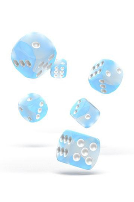 Oakie Doakie Dice D6 Dice 16 mm Glow in the Dark - Arctic (12)