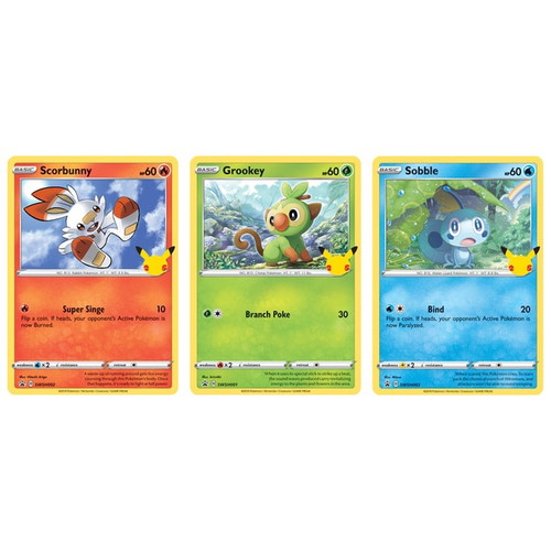 Pokemon TCG: 25th Anniversary Galar Starters 3 Pack Oversize Card Exclusive