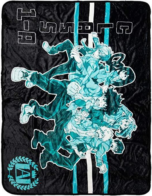 JUST FUNKY MY HERO ACADEMIA TEAL AND BLACK CLASS 1-A FLEECE BLANKET