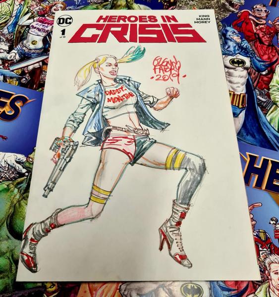 Heroes In Crisis #1 Original Harley Quinn Sketch by Glenn Fabry