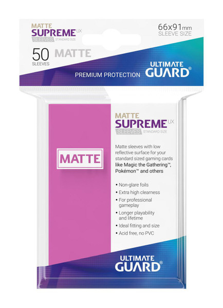 Ultimate Guard Supreme UX Sleeves Standard Size Matte Pink (50)