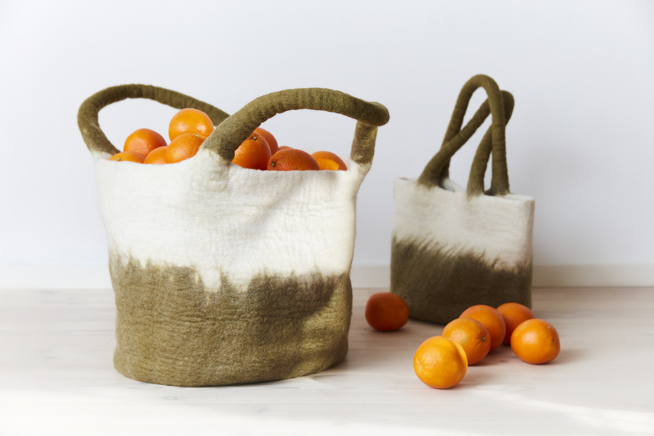 Wool Felted Bags Baskets