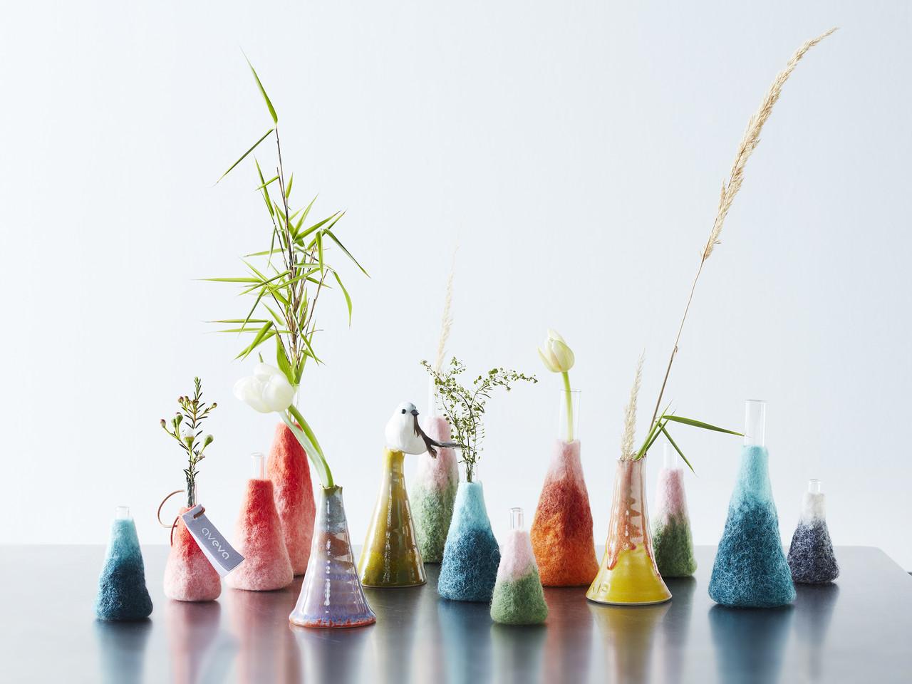Wool Felted Flower Vases
