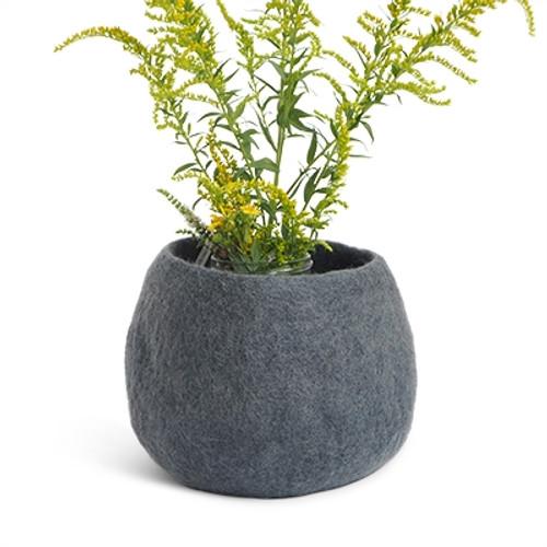 Aveva Design Wool Flower Pot ROUND medium/dark grey