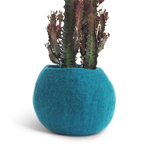 Aveva Design Wool Flower Pot ROUND medium/petrol