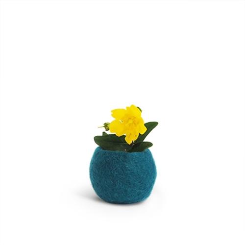 Aveva Design Wool Flower Pot ROUND small/petrol