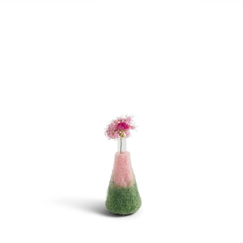 Aveva Design Wool Flower Vase Green/Pink (set of 2)