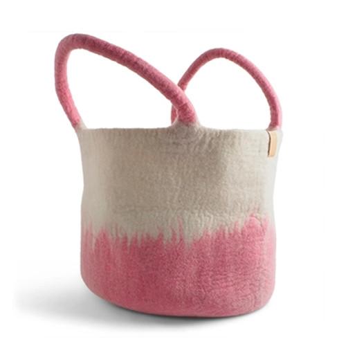 Aveva Design Wool Basket Hand Felted *Pink*