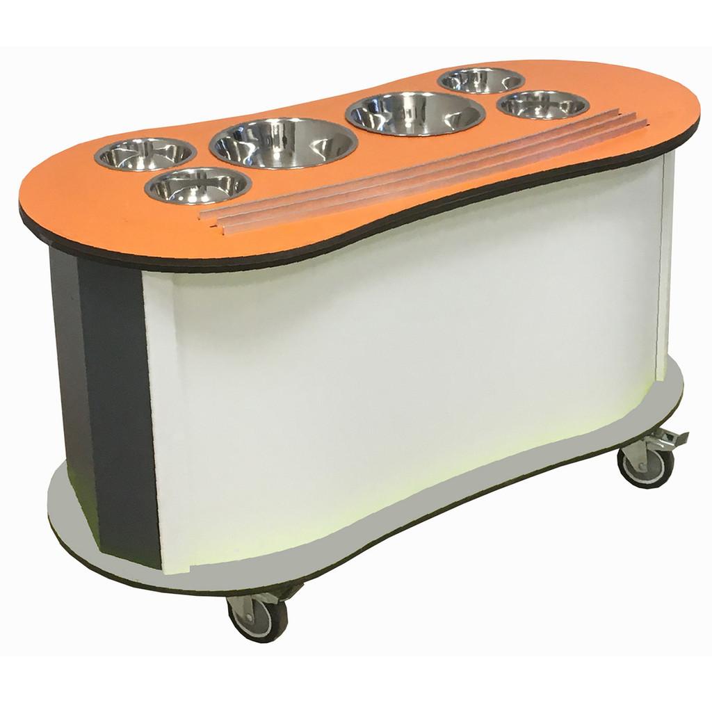 Curved Salad Bar - orange
