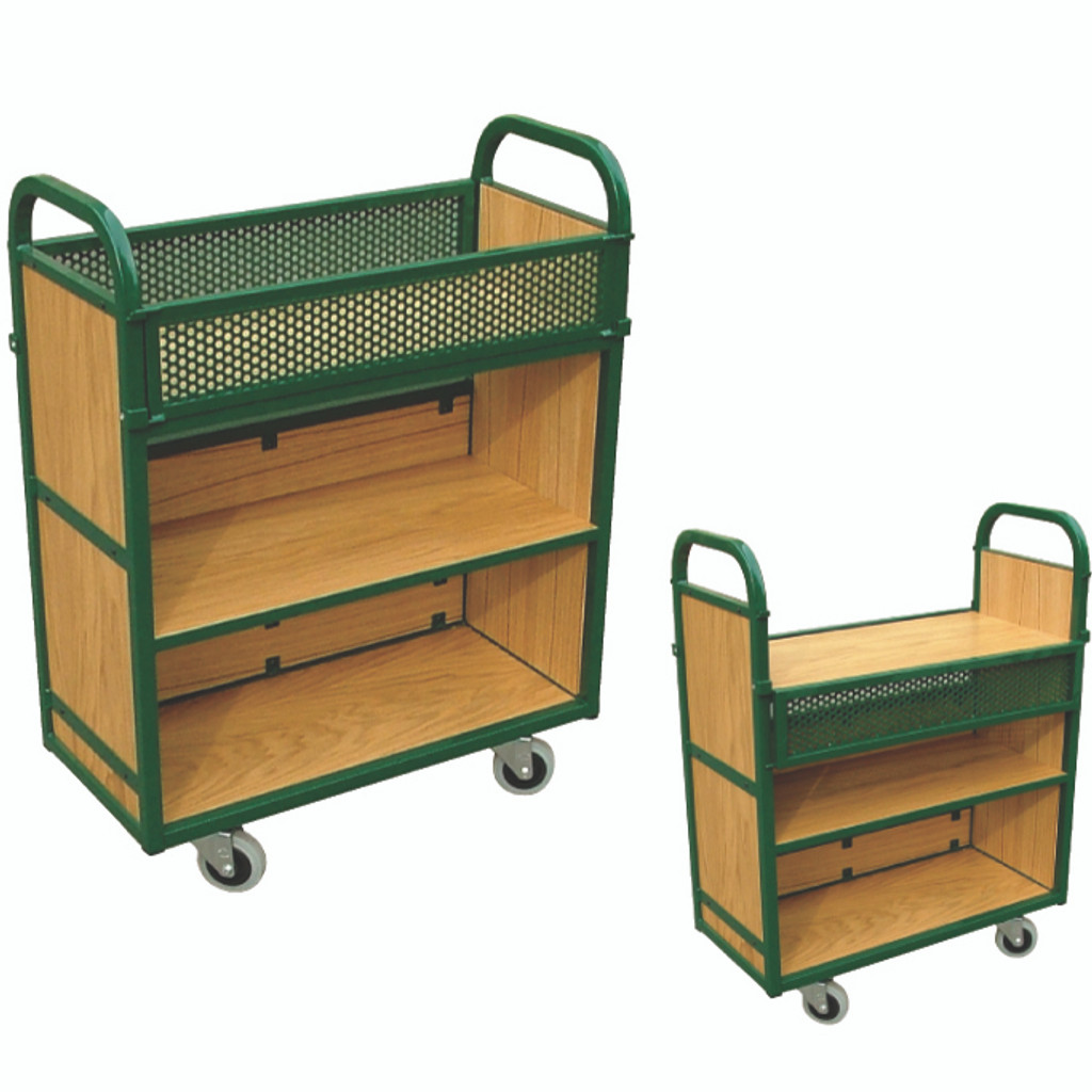 Flip down top shelf trolley