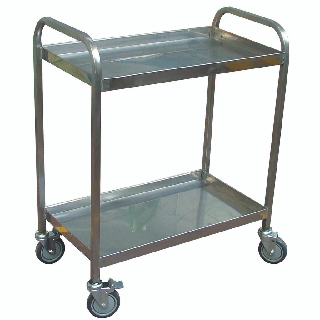 Stainless steel 2 flat shelf Trolley