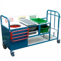 Clearing trolley with bin, cutlery trays and rail