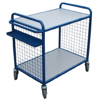 2 flat shelf trolleys