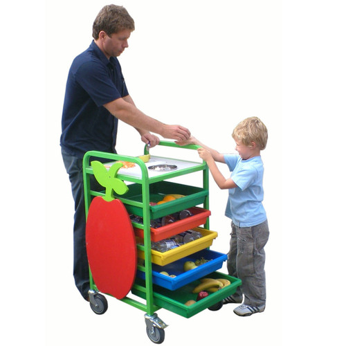 Staff Serving Fruit Trolley
