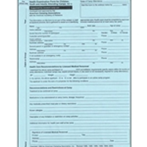 Health Examination Form for Children, Youth, and Adults Attending Camps (100 count package)
