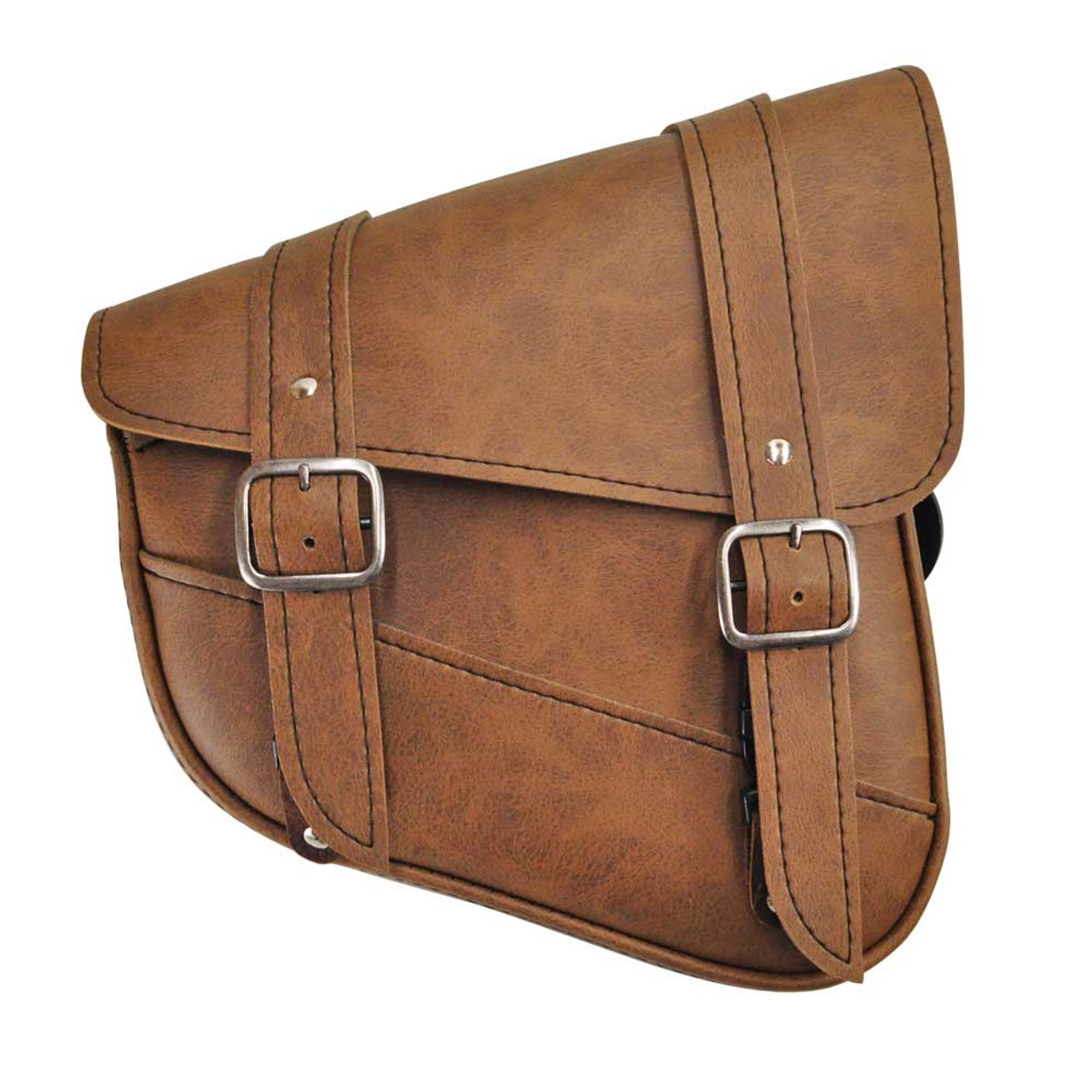 Willie & Max® Luggage Brown Synthetic Leather Swingarm Saddlebag with  Chrome Buckles for Harley Models with Dual Shocks