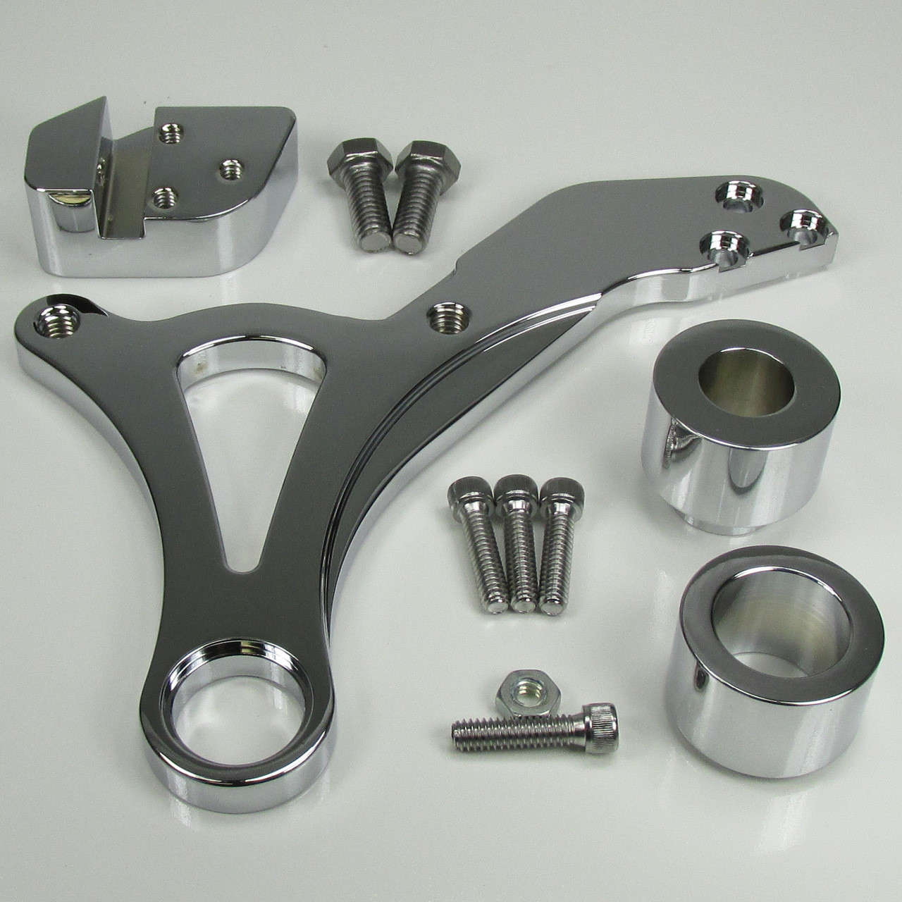 Ultima© Rear Brake Caliper Mount - Chrome, For 2000-Later Harley Dyna, Also  Available with a 4-Piston Caliper