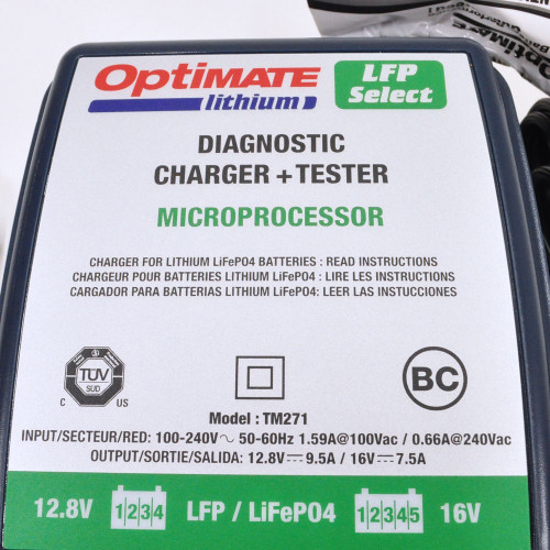 New Optimate Lithium LFP 4s 5A Battery Charger Motorcycle 12.8V 5A inc BMS reset