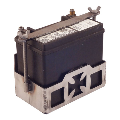 """Cross"""" OEM Style Battery Box with Clamp for Harley Davidson Battery"""