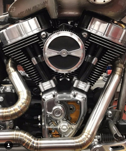 """S&S© """"Stealth"""" Air Cleaner Kit w/ Brass Balls Cycles© """"F1"""" Air Cleaner  Cover - Unfinished Billet Aluminum w/ Carbon Fiber Inlays - Fits 1991 and  Up"""