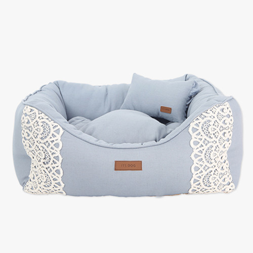 Linen Frill Lace Bed Blue (Large)