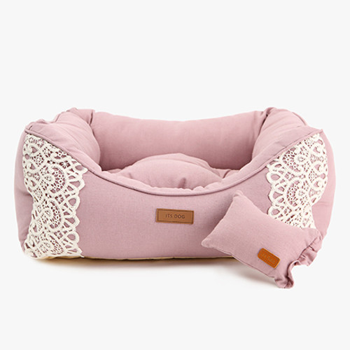 Linen Frill Lace Bed Pink (Large)