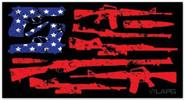 LA Police Gear XLarge Guns Flag 6.75 x 3.5 Sticker FLAGSTICKER-GUNS