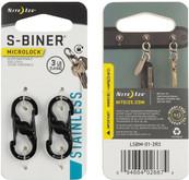 Nite Ize S-Biner MicroLock Stainless Steel 2 Pack - Black