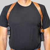 """Galco Shoulder System 1.5"""" Wide Spider Harness tan front"""