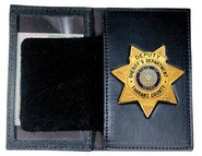 Boston Leather 110 Book Style Badge Case with Oversized Window Soft Leather 110-S