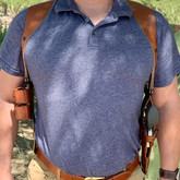 """Galco 2.75"""" Shoulder Harness tan lifestyle"""