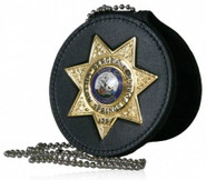 Boston Leather Deluxe 3.75 Circle Recessed Badge Holder with Clip 600DX-BO