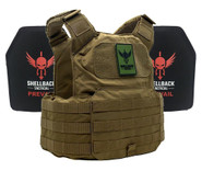 Shellback Tactical Shield Active Shooter Kit with Level IV 1155 Plates - SBT-9010-1155 - Coyote -Only 389.99  LA Police Gear 