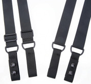 TUFF Tactical 4 Point Duty Suspenders Black Nylon keepers